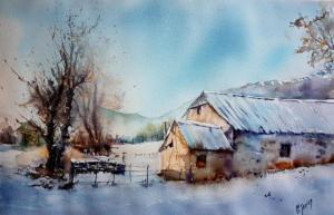 Grange sous la neige